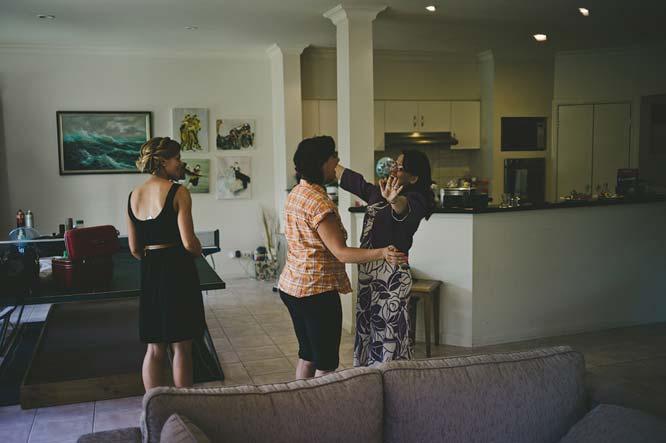 Aunt hugging with bride's sister in Melbourne wedding