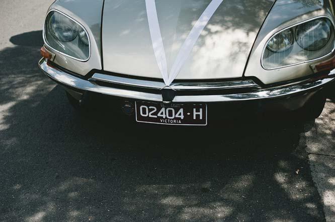 Front of melbourne wedding car Citroen