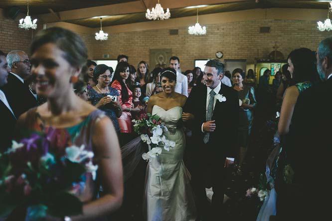 Bride and groom entrance into church