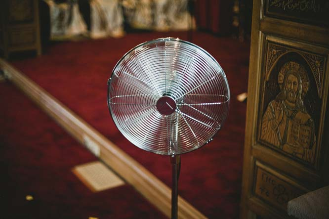 Fan in Melbourne Egyptian wedding church