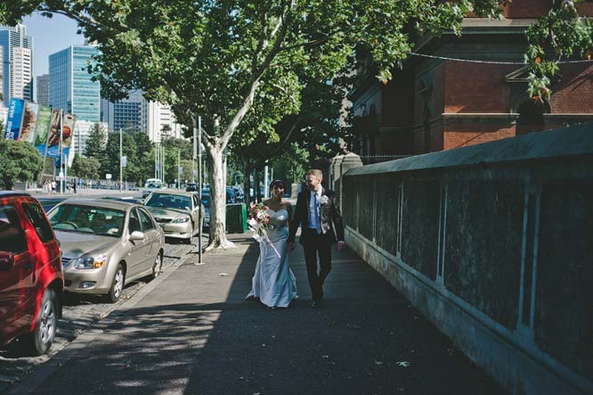 Melbourne Egyptian Wedding bride groom sidewalk
