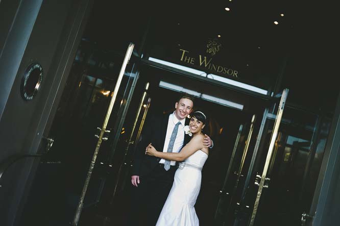 Melbourne Egyptian Wedding Bride groom windsor hotel front door
