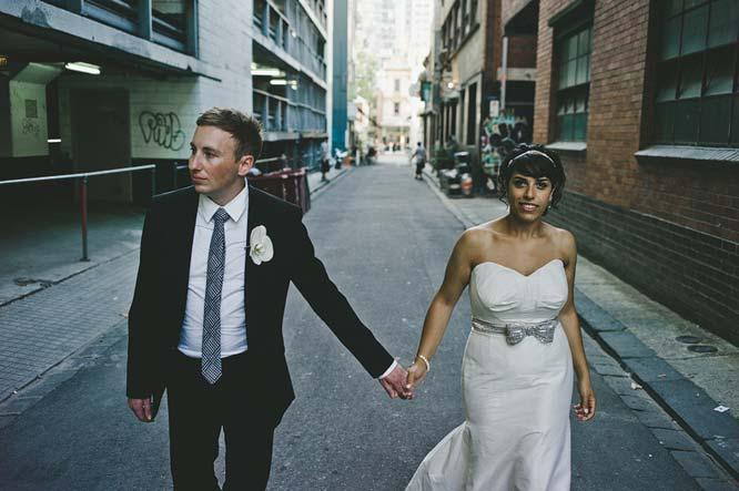 Melbourne Egyptian Wedding bride groom alley holding hands