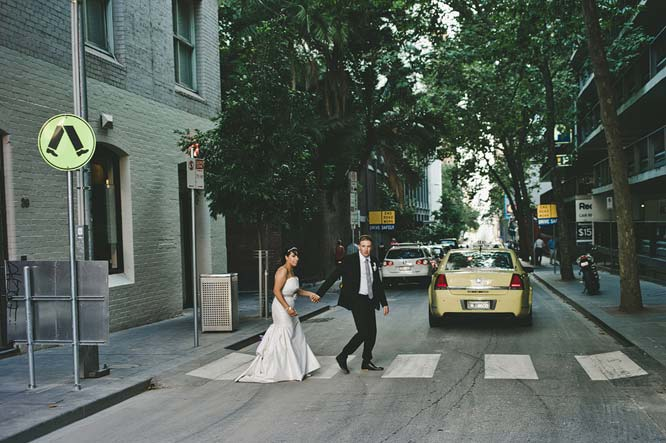 Melbourne Egyptian Wedding crossing road