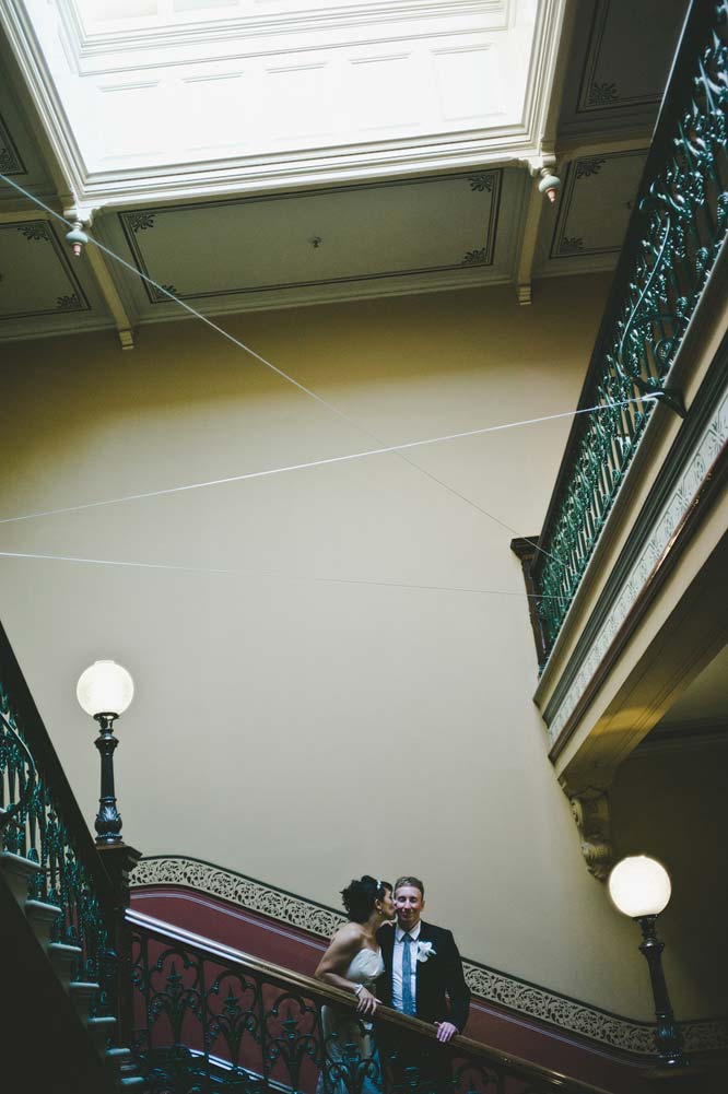 Melbourne Egyptian Wedding Hotel Windsor staircase kiss