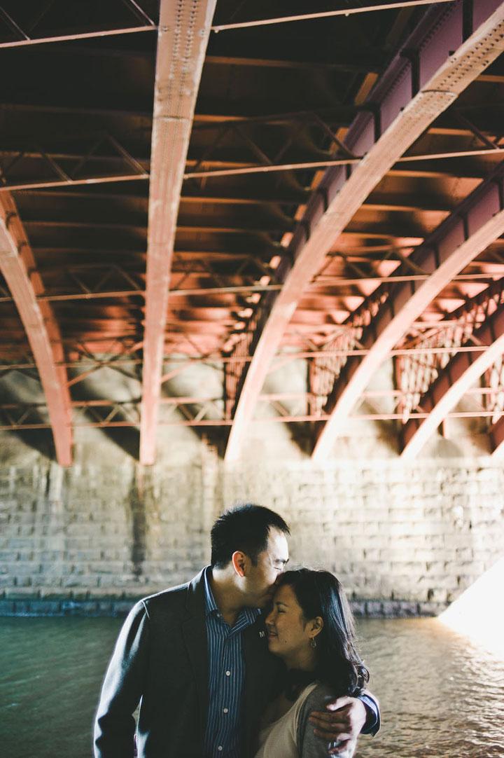 Martin Ling kissing under bridge