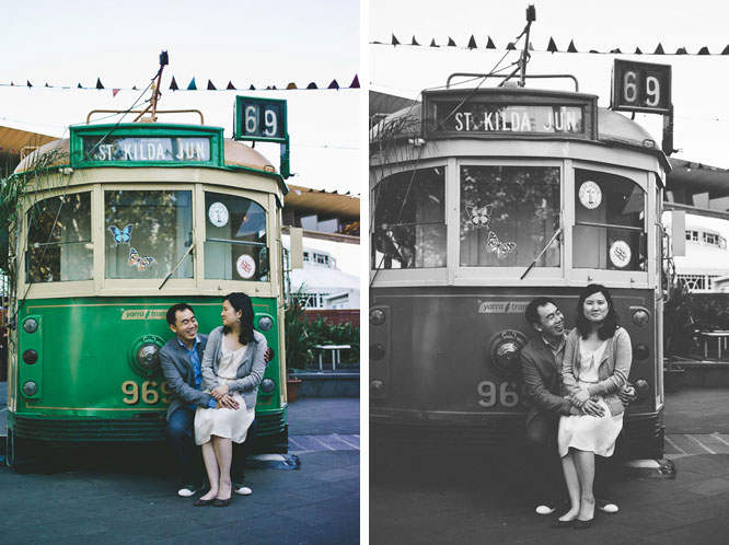 Engagement couple posing in front of Melbourne tram