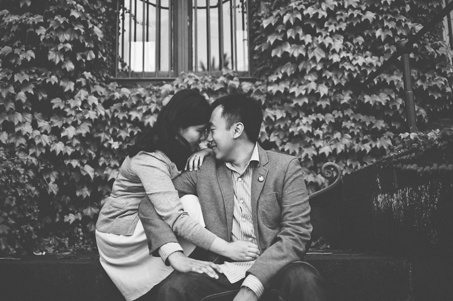 Engagement couple intimate in front of Barracks building