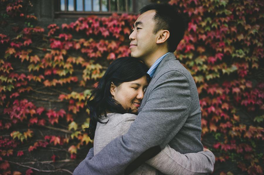 Melbourne engagement couple embracing Barracks