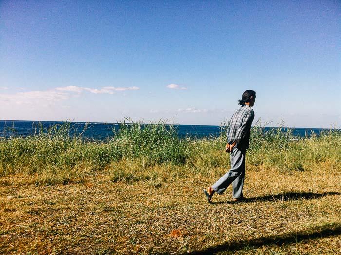 Man walking on Yakushima road