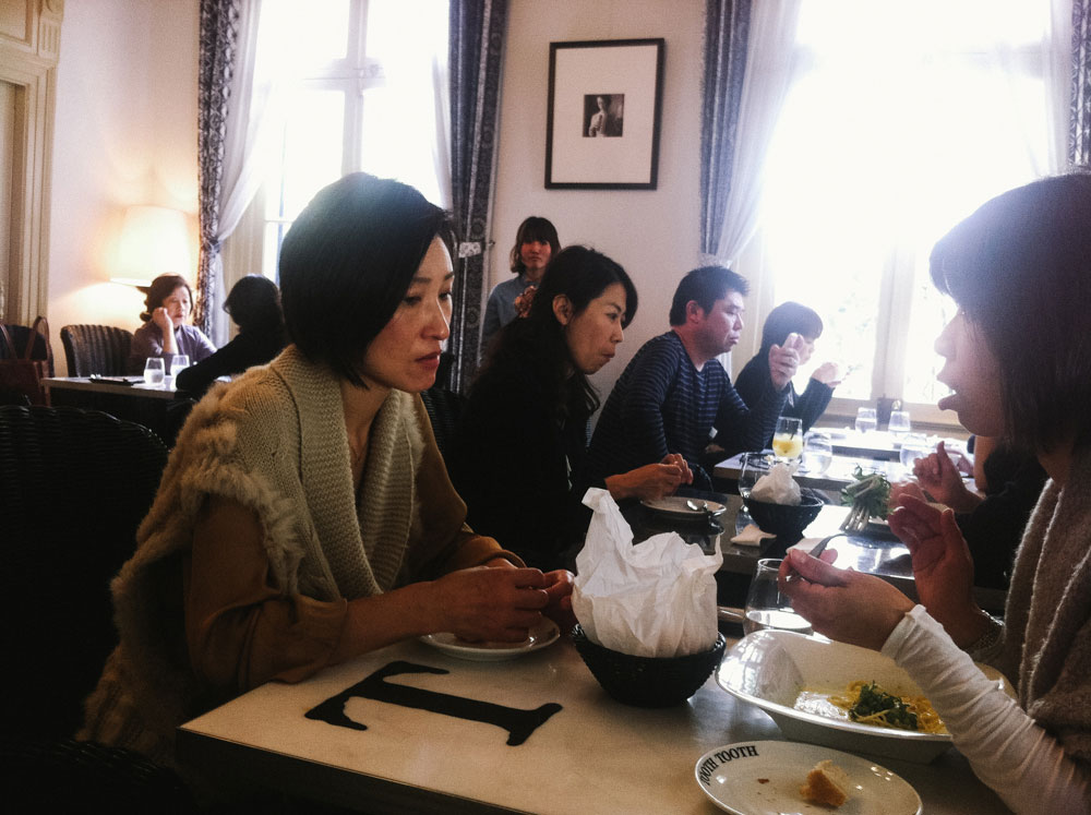 Women eating lunch in Tooth Tooth at Kobe, Japan
