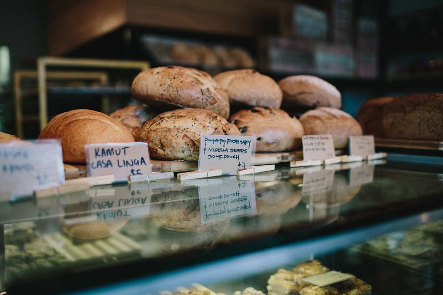Bread on display in Northcote Bakeshop