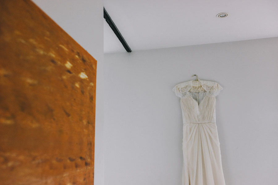 Melbourne wedding dress on wall in st kilda