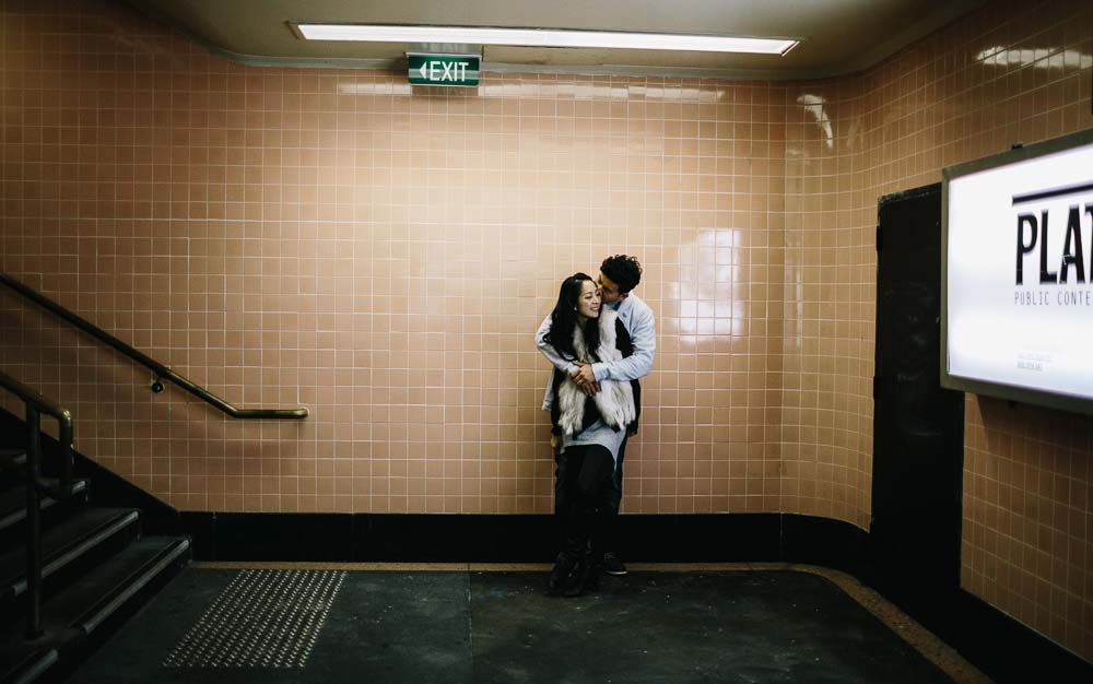 Asian couple underneath Flinders station