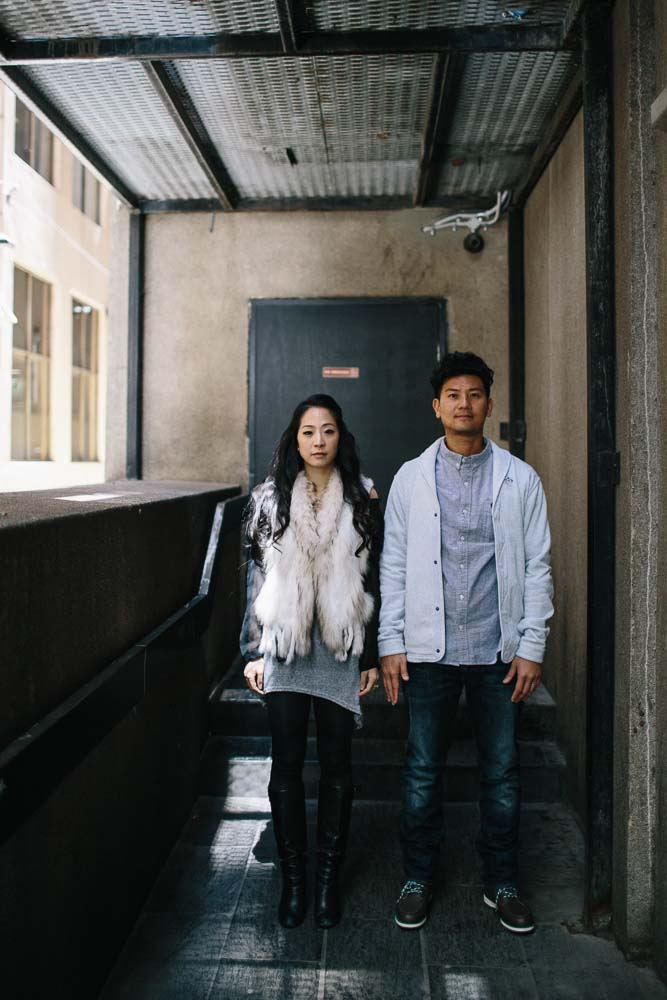 Asian wedding couple casual Flinders Lane
