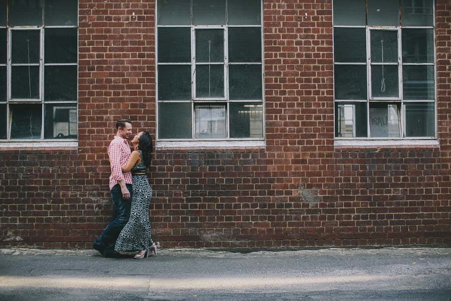 Couple in Bouverie Place alley engagement