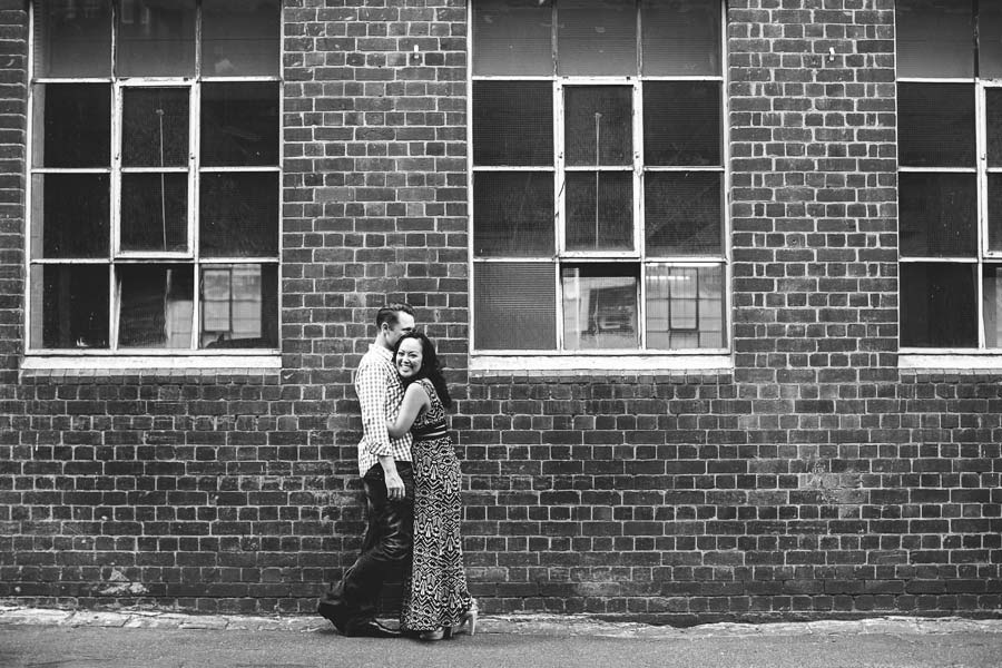 Black and white engagement Melbourne