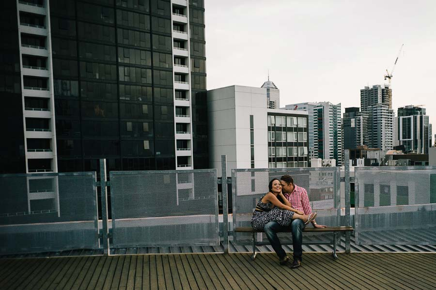 Bouverie Street rooftop couple engagement