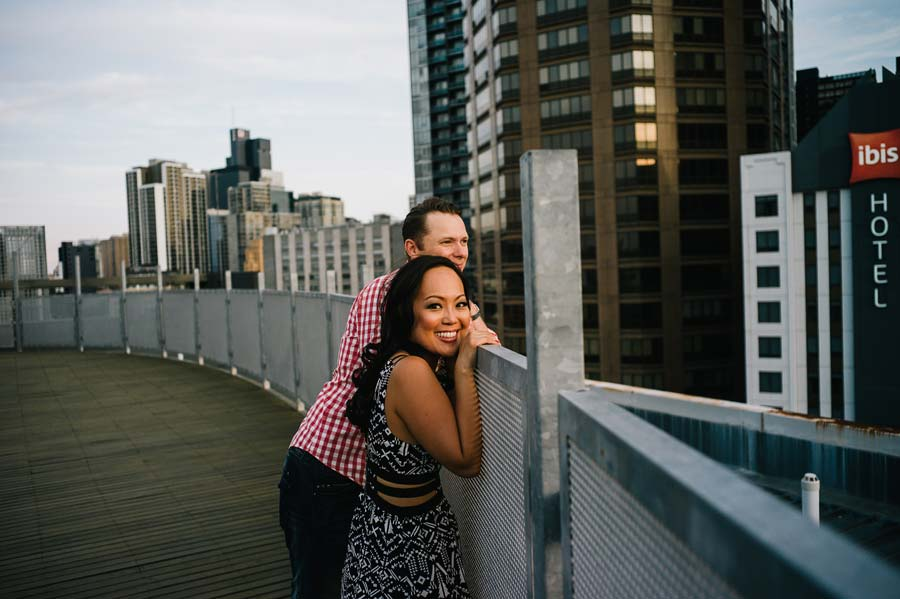 Melbourne rooftop engagement sunset photo