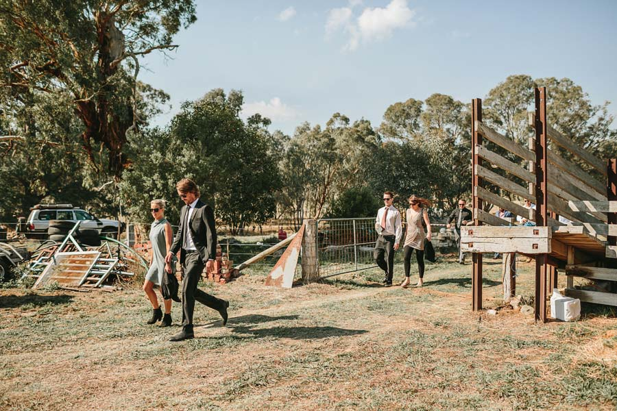 guests arriving melbourne farm wedding