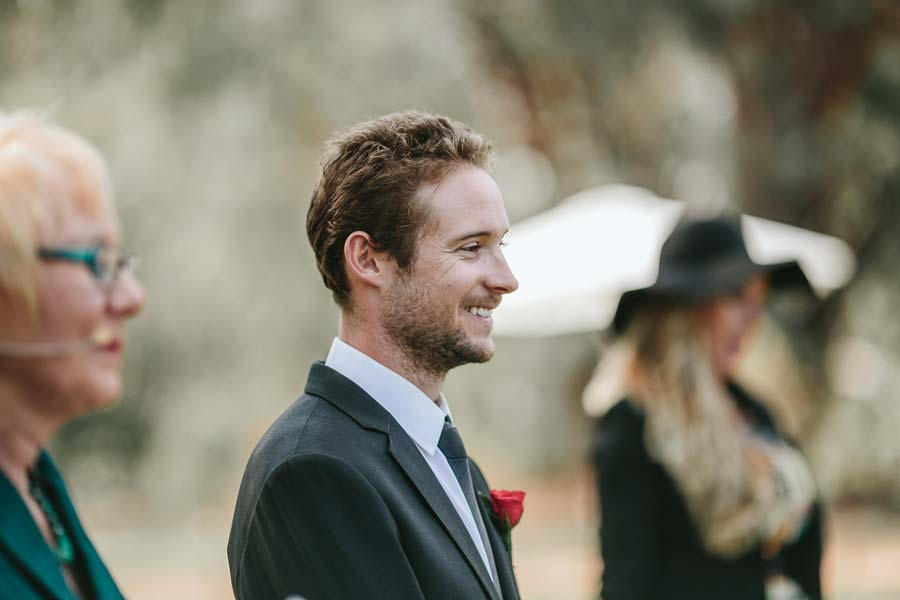 Groom's reaction to bride melbourne farm wedding