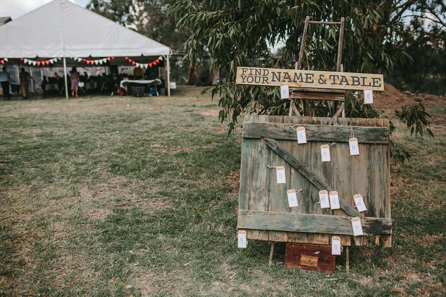 Melbourne farm wedding seating arrangements