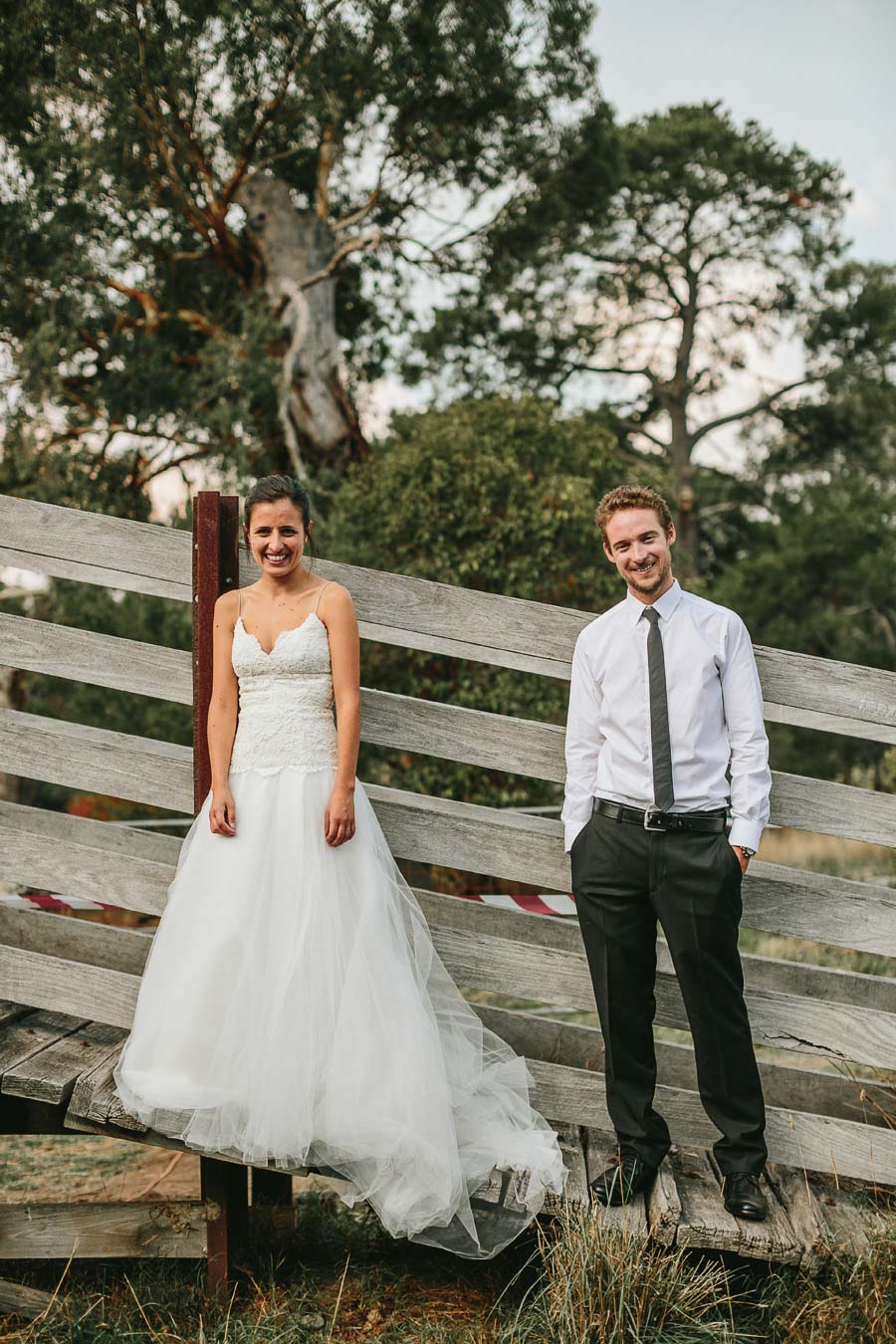 Melbourne farm wedding bride and groom on shed