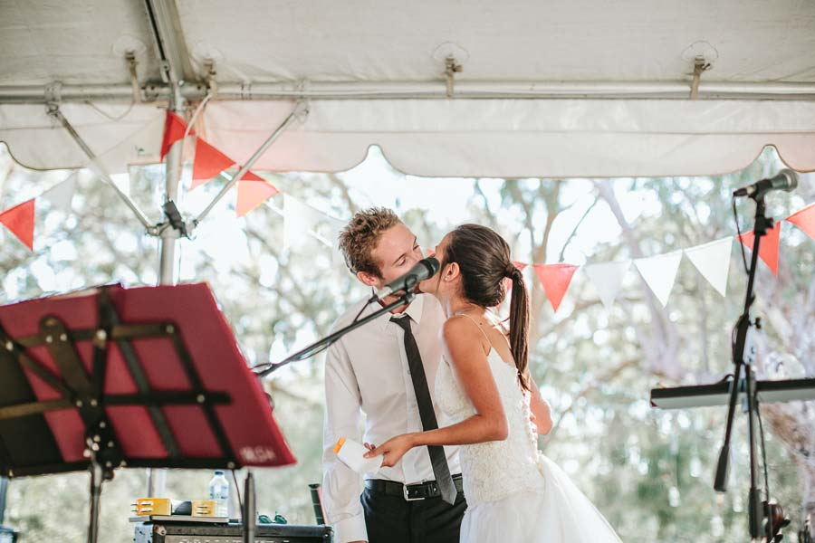 Melbourne farm wedding bride and groom speech kiss
