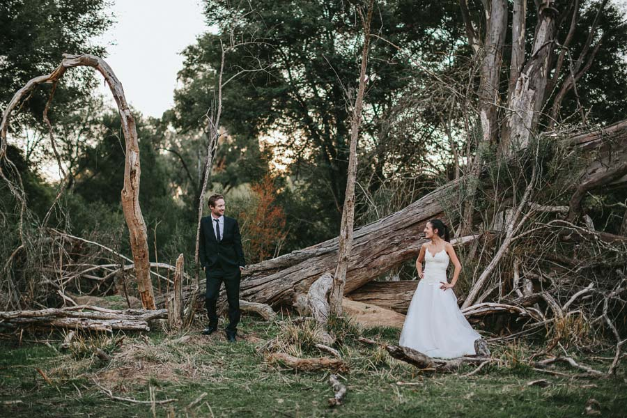 Bride and groom posing in woods yea farm