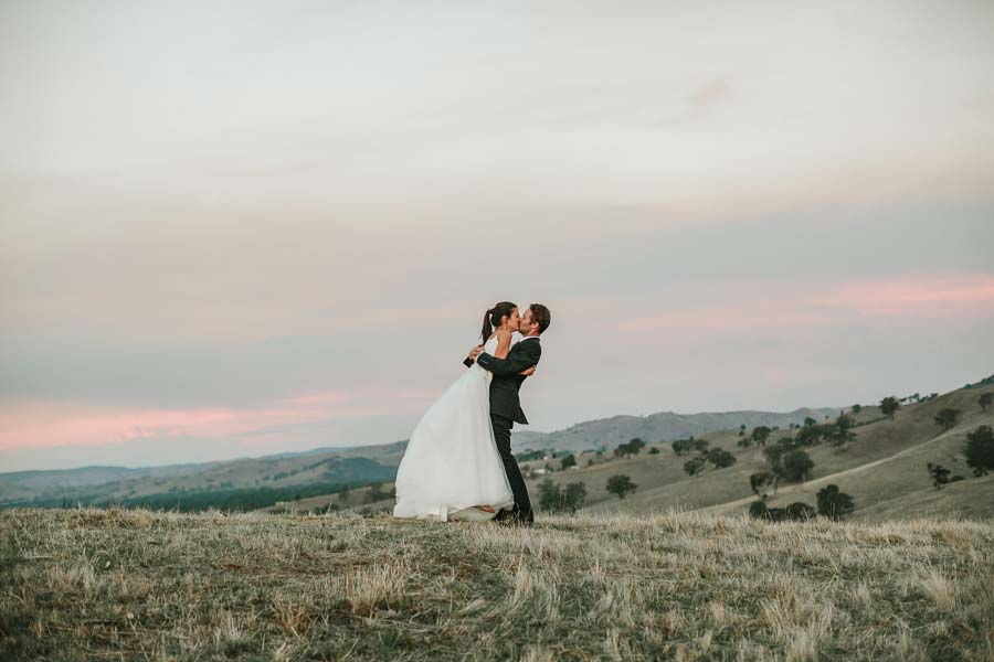 Yea mountain farm wedding kiss
