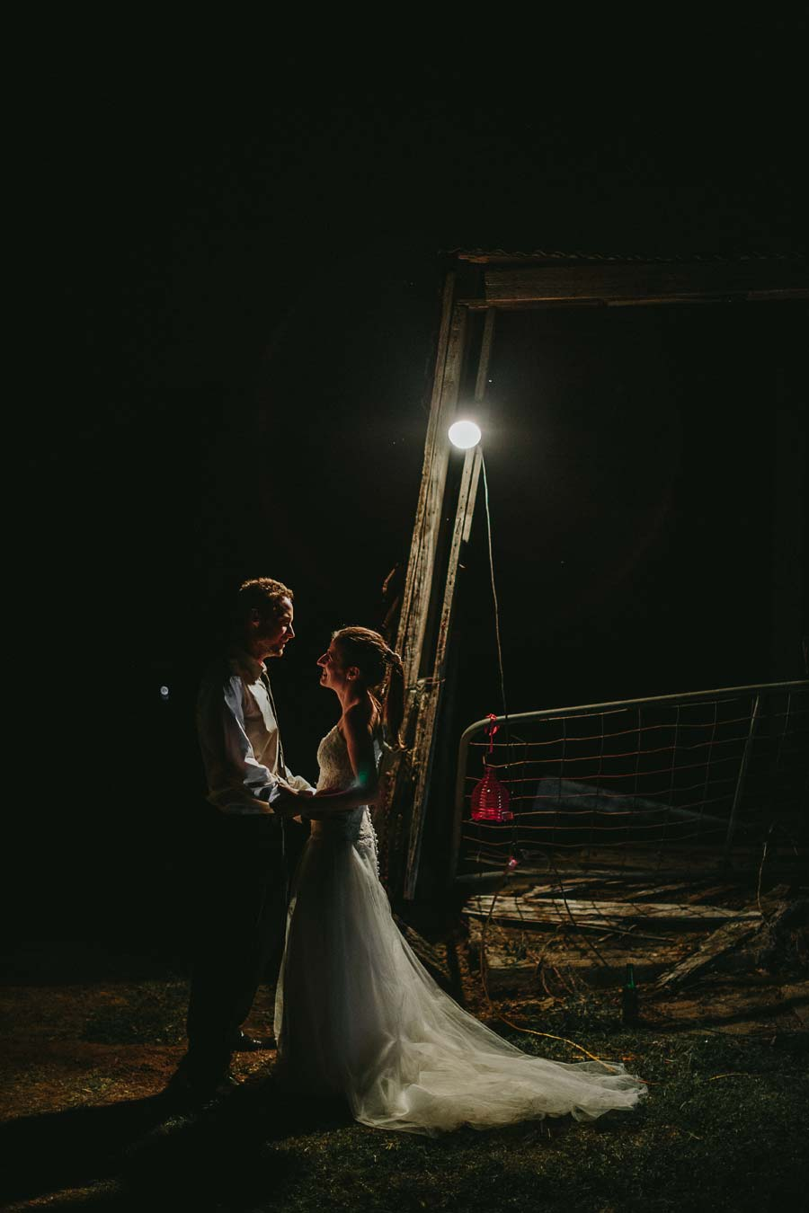 Melbourne farm night wedding portrait