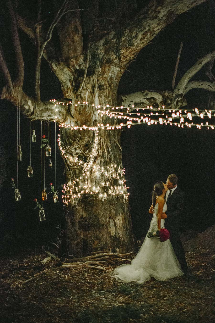 Melbourne farm wedding lights jars kiss