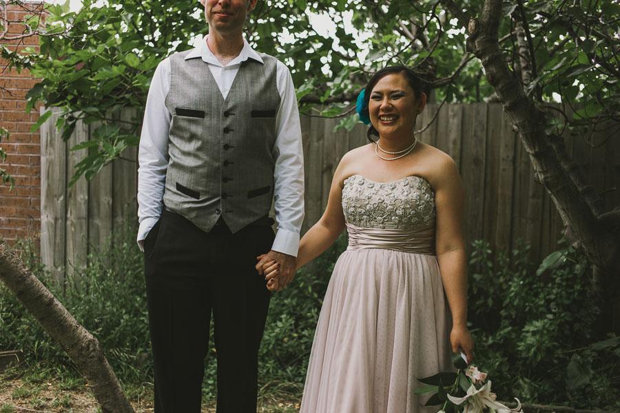 Coburg backyard Wedding bride groom