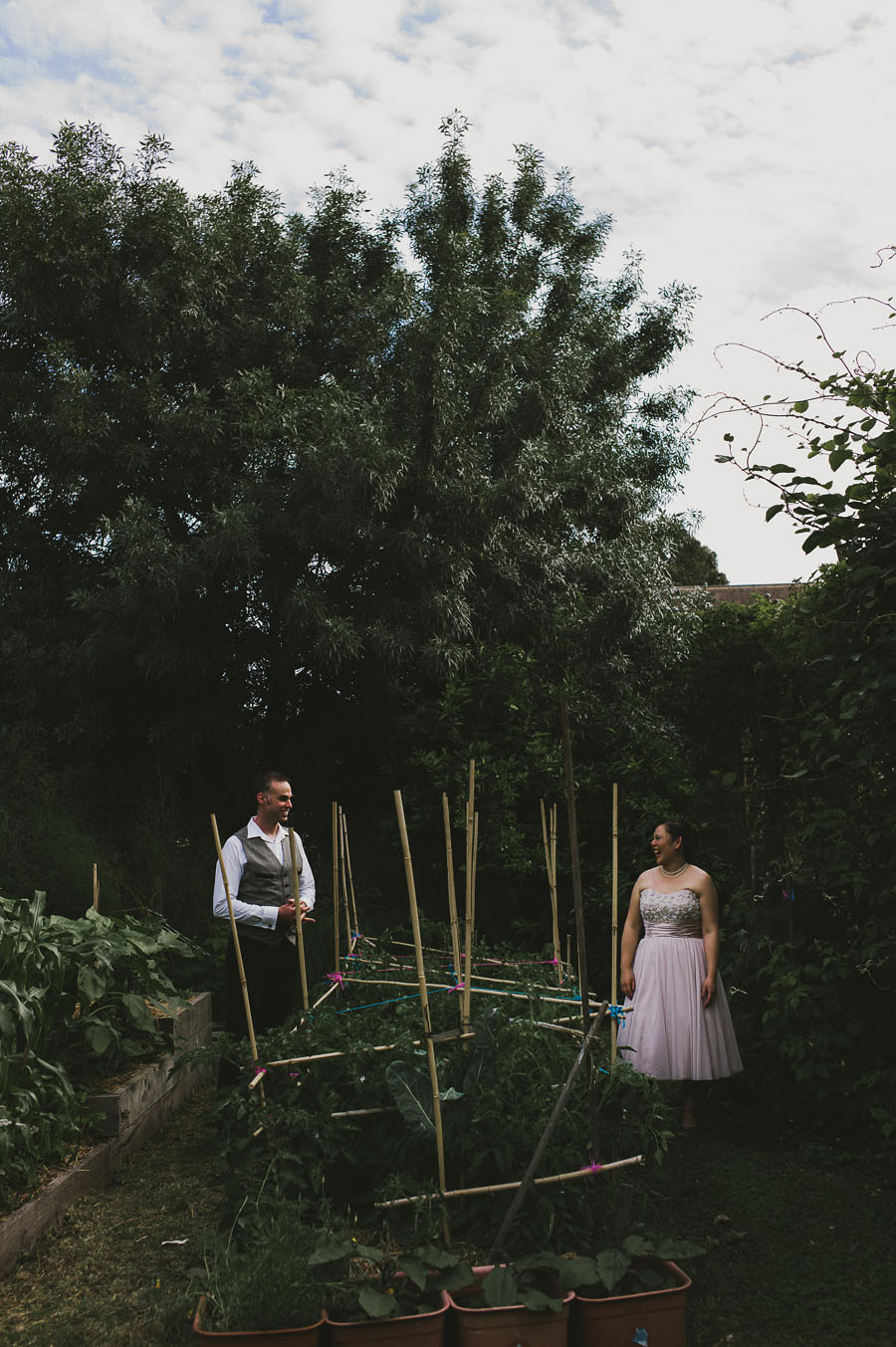 bride and groom in community garden Coburg