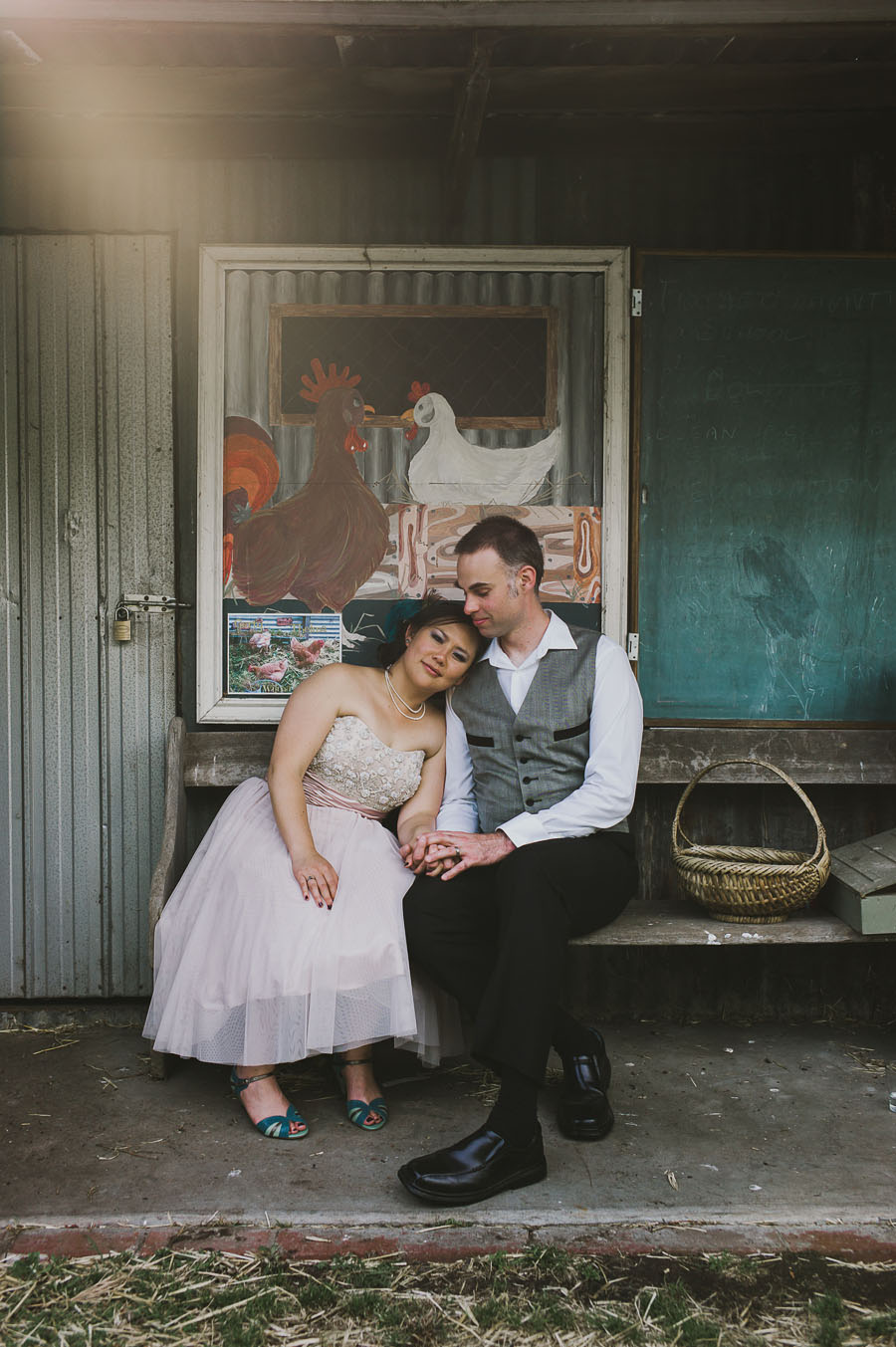 Bride and groom in a barn Coburg Wedding
