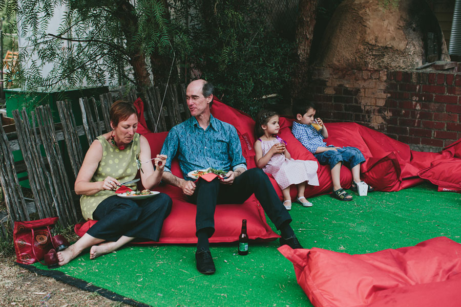Guests on bean bags Coburg peppertree place wedding