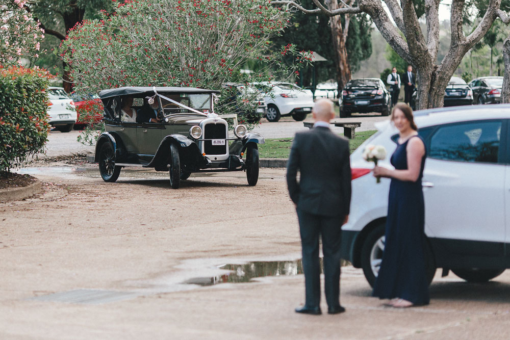 Bride arriving at Walka Water Works wedding