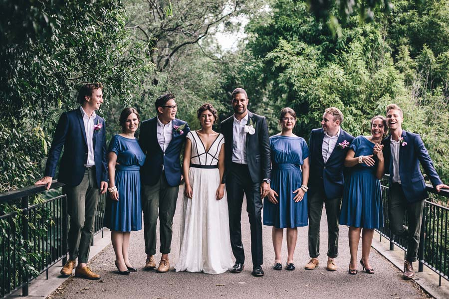 Melbourne royal botanical garden Jewish Wedding bridal party