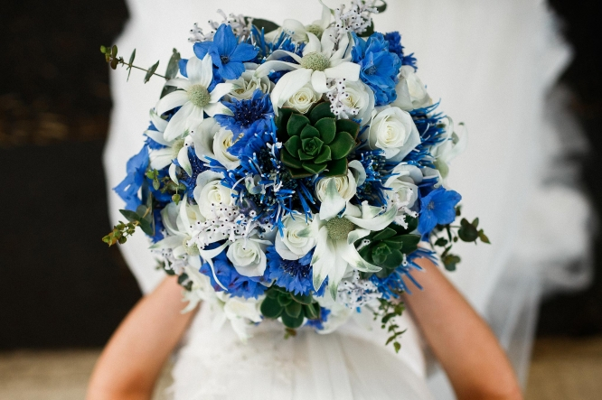 Sydney-The-Rocks-Italian-Village-Wedding-Blue-Bouquet