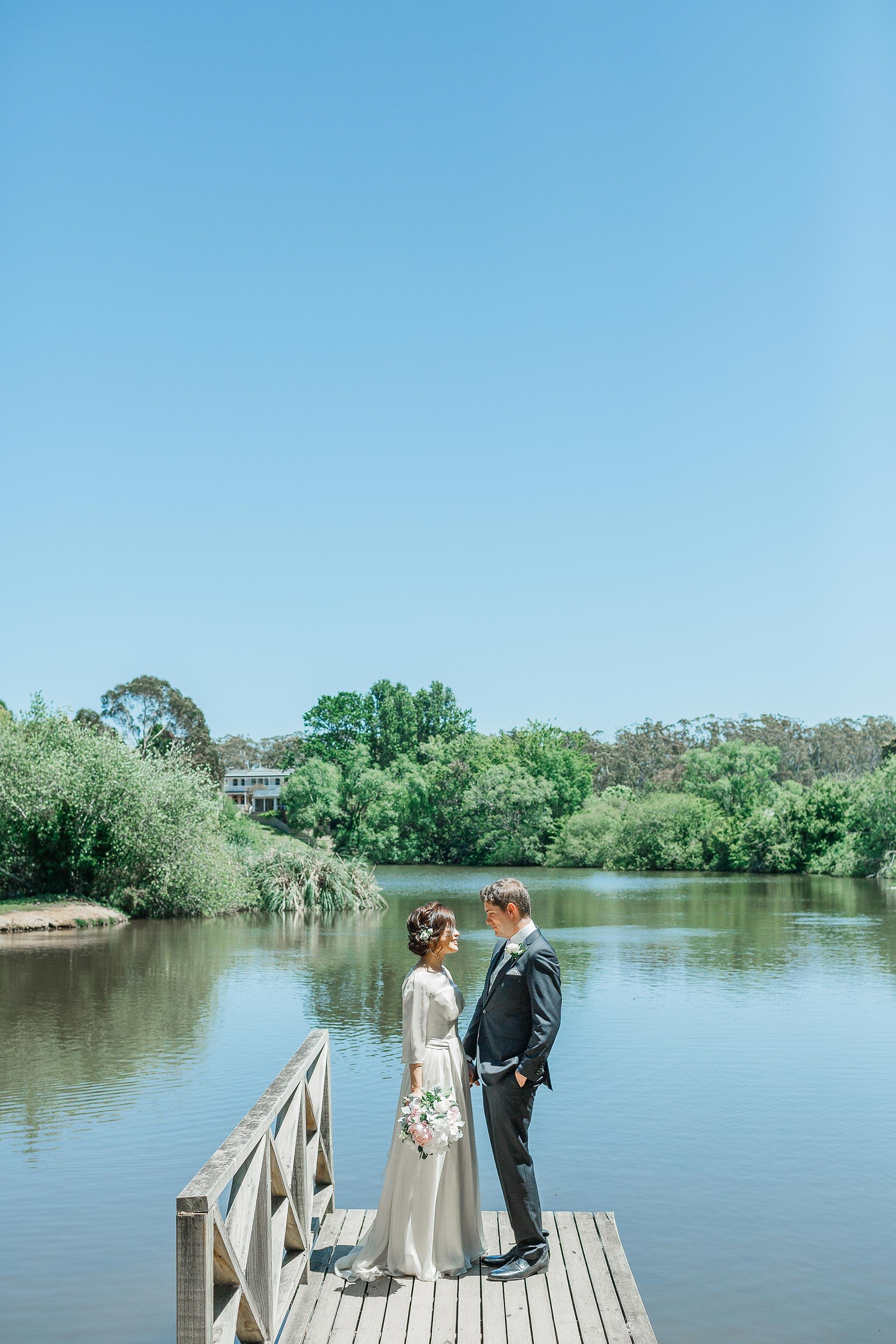 Daylesford-Lake-House-Wedding-Photography-bride-groom-lake