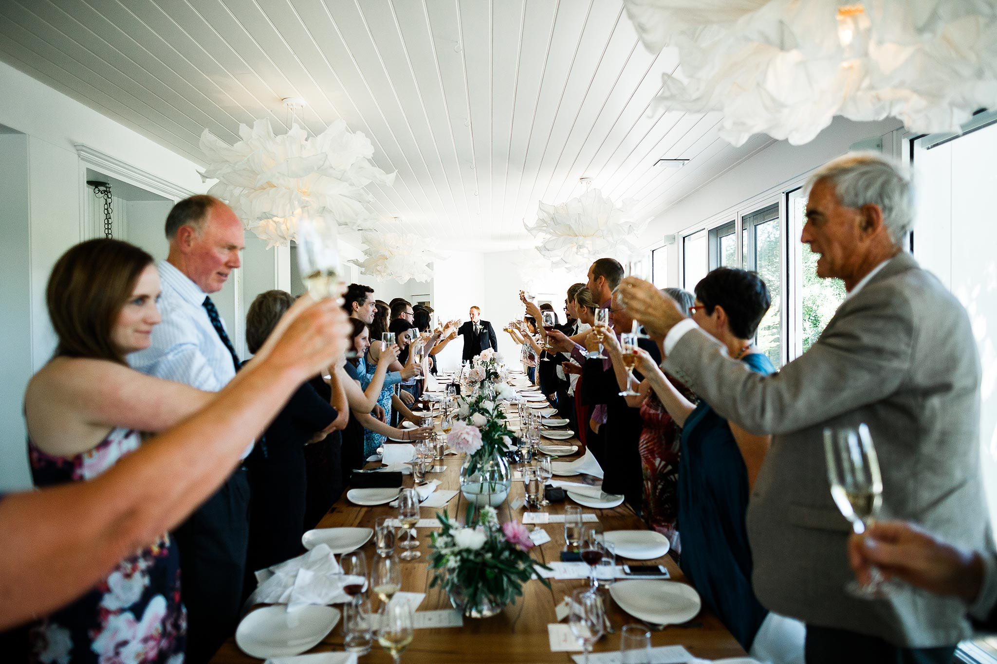 Daylesford-Lake-House-Wedding-Photographer-lunch-reception-toast