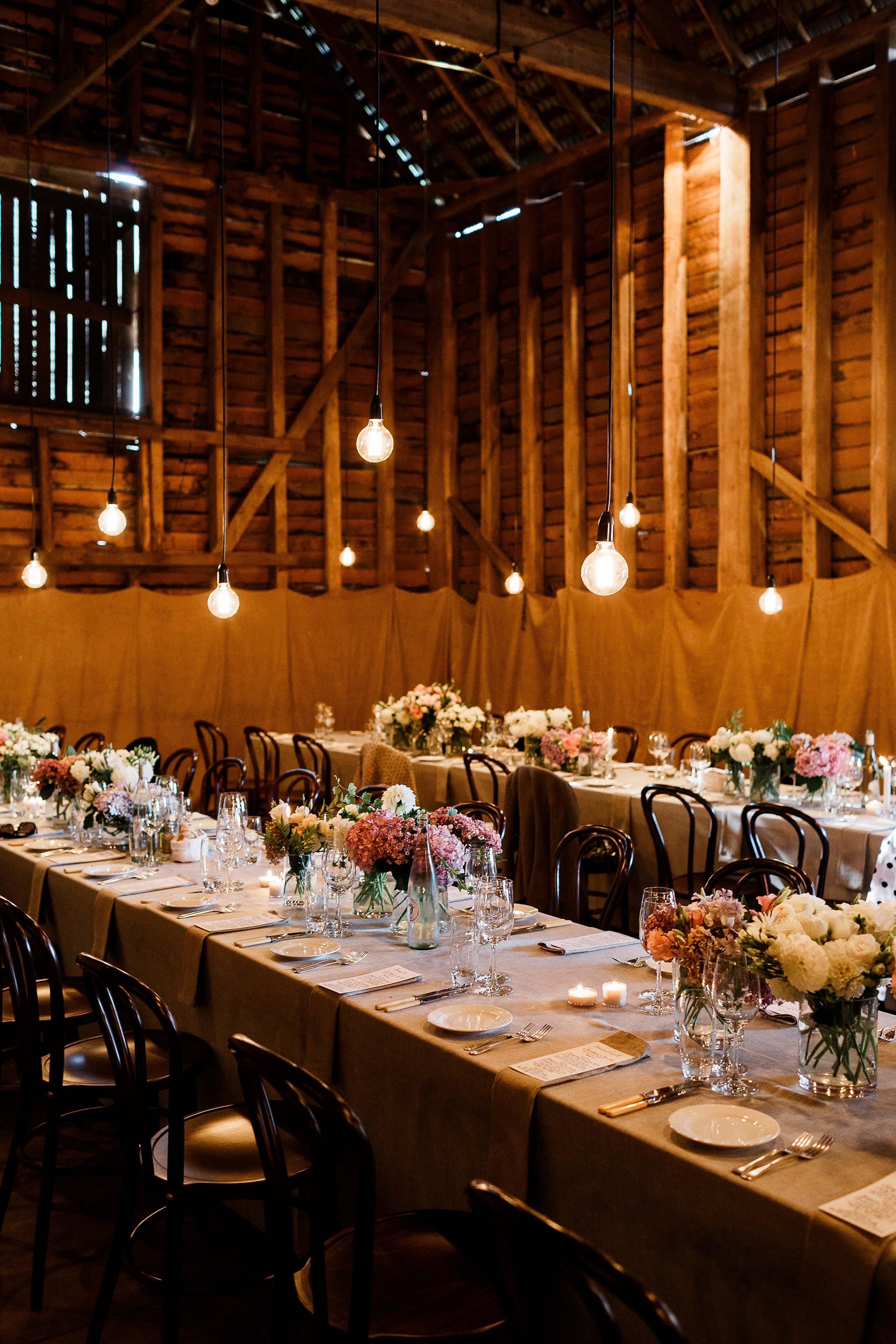 Launceston-Brickendon-barn-Wedding-Photographer-reception-set-up