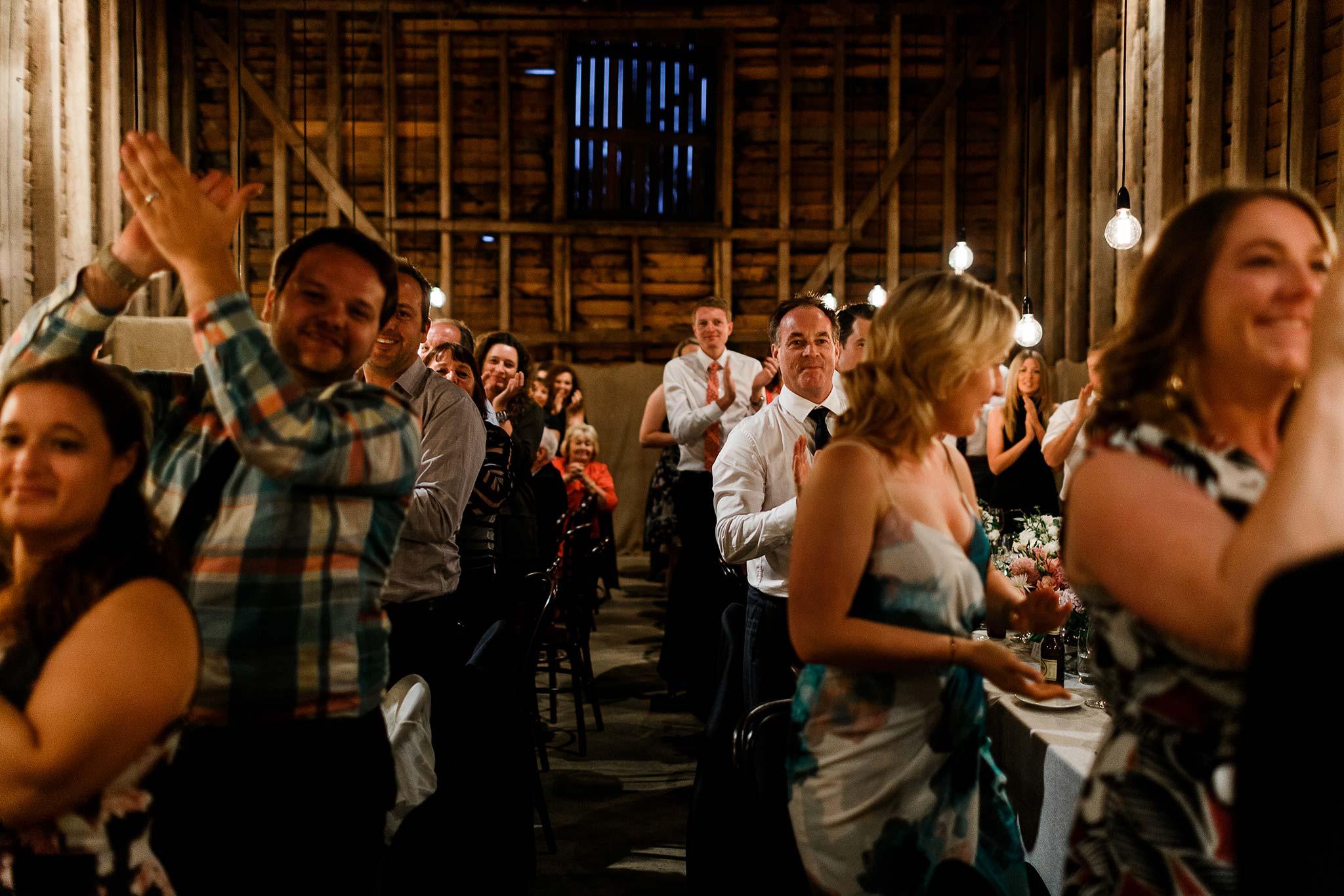 Launceston-Brickendon-barn-Wedding-Photographer-reception-applause