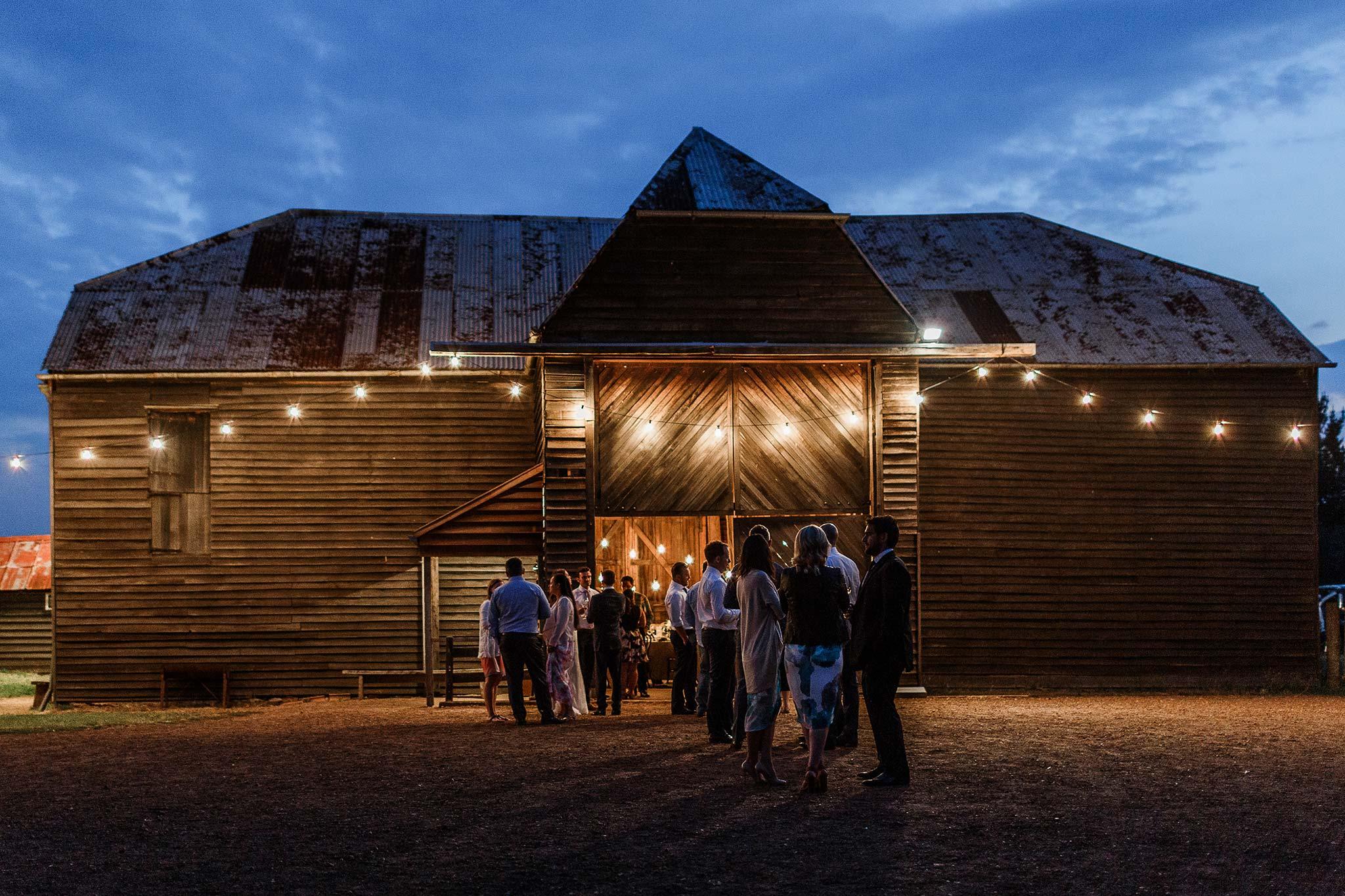 Launceston-Brickendon-barn-Wedding-Photographer-reception-night-view