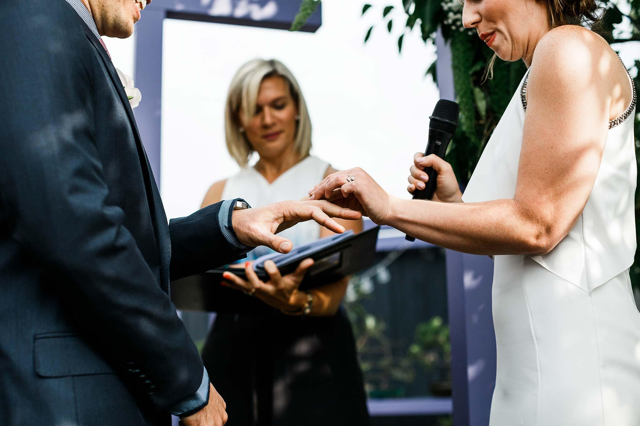 Strathmore-Melbourne-Backyard-Wedding-ring-exchange