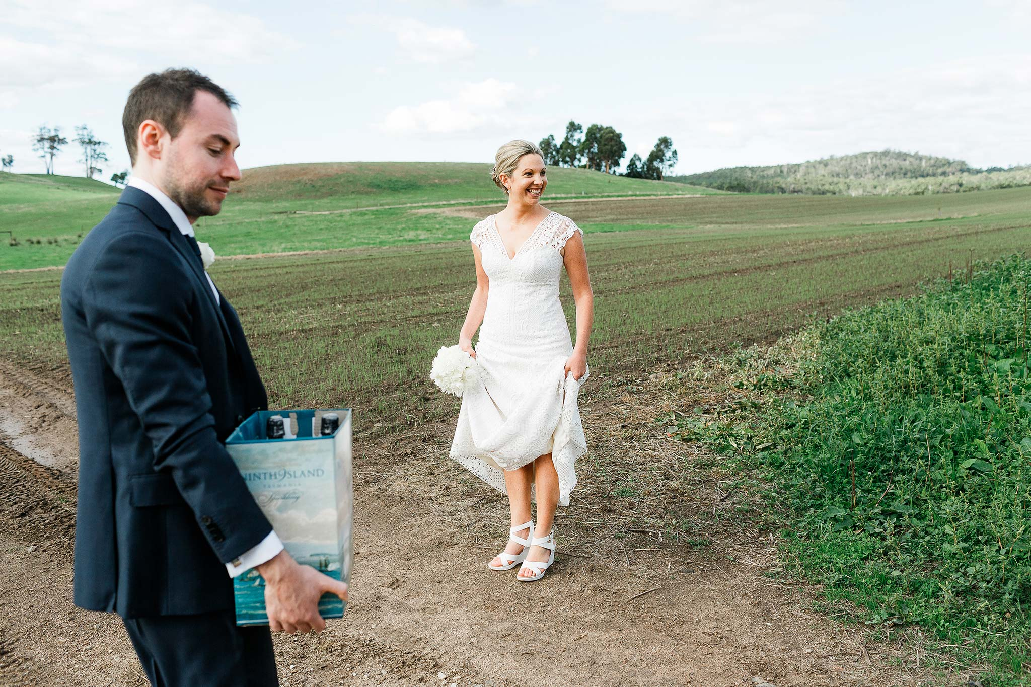 Tasmania-Davenport-Farm-Wedding-bride-beer
