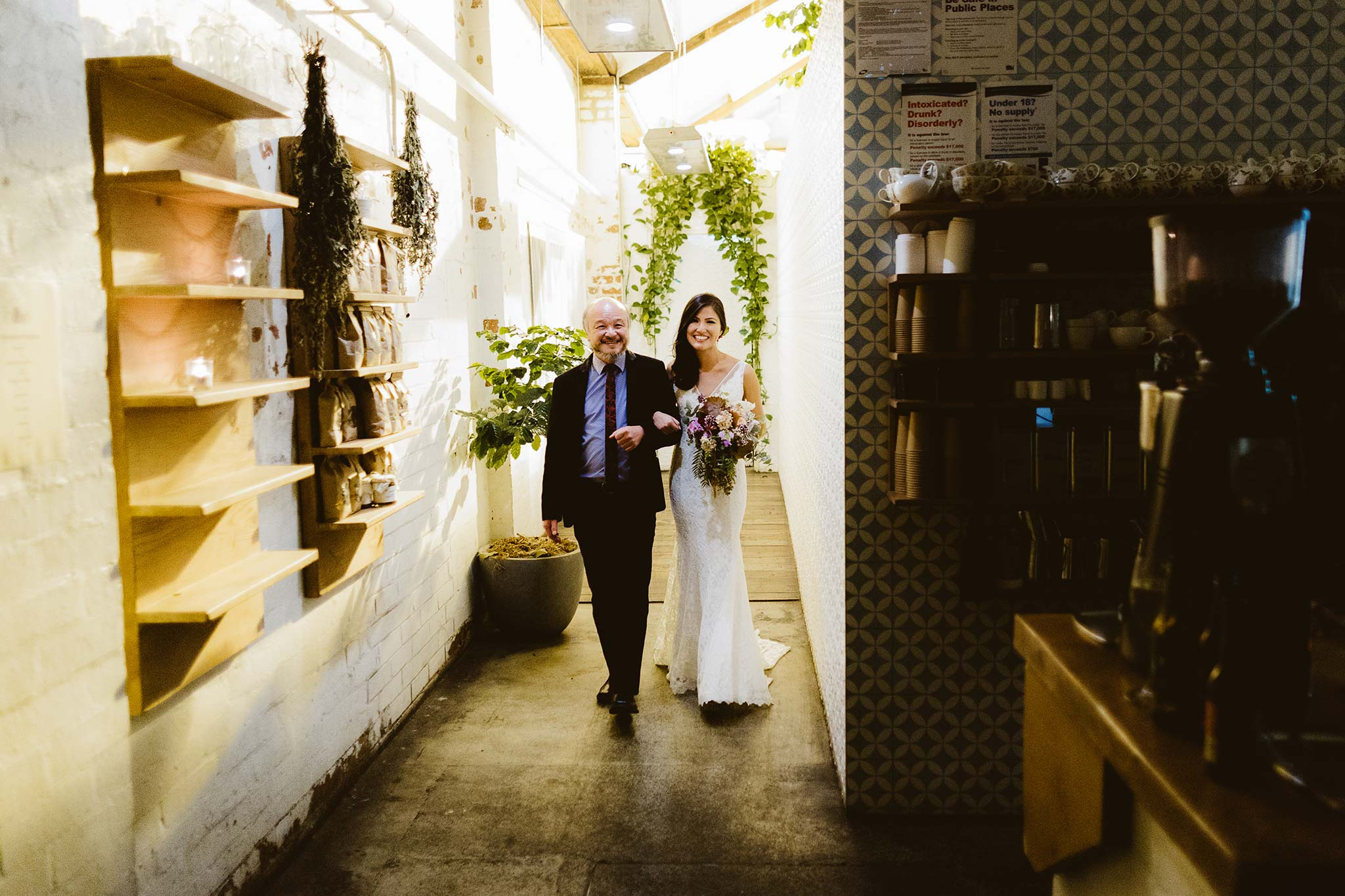 Melbourne-North-Carlton-East-Elevation-Surprise-Winter-warehouse-Wedding-photographer-bridal-entrance