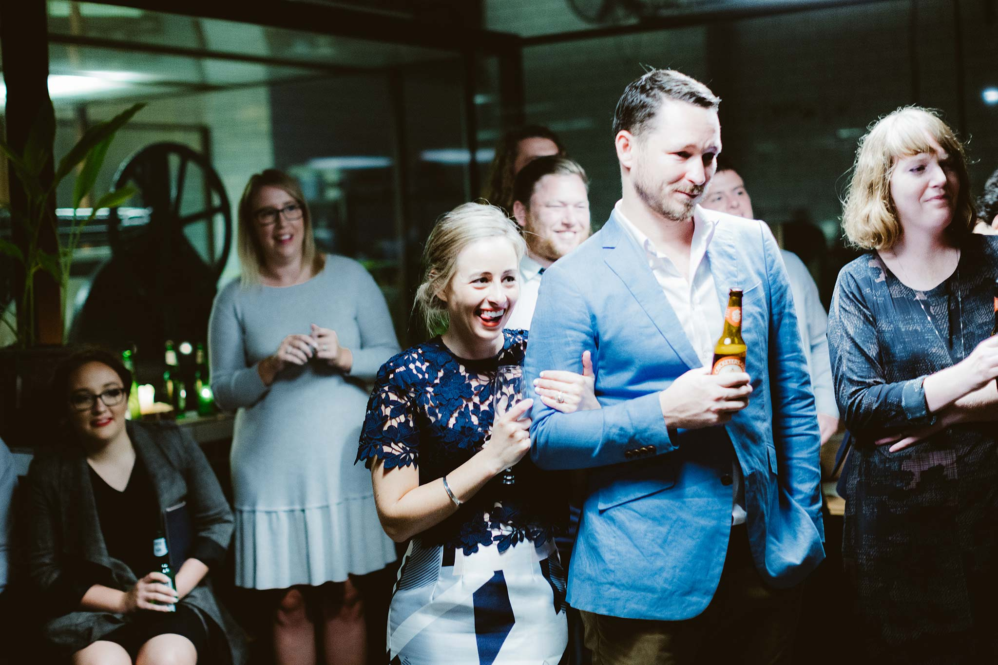 Melbourne-North-Carlton-East-Elevation-Surprise-Winter-warehouse-Wedding-photographer-guests-reaction