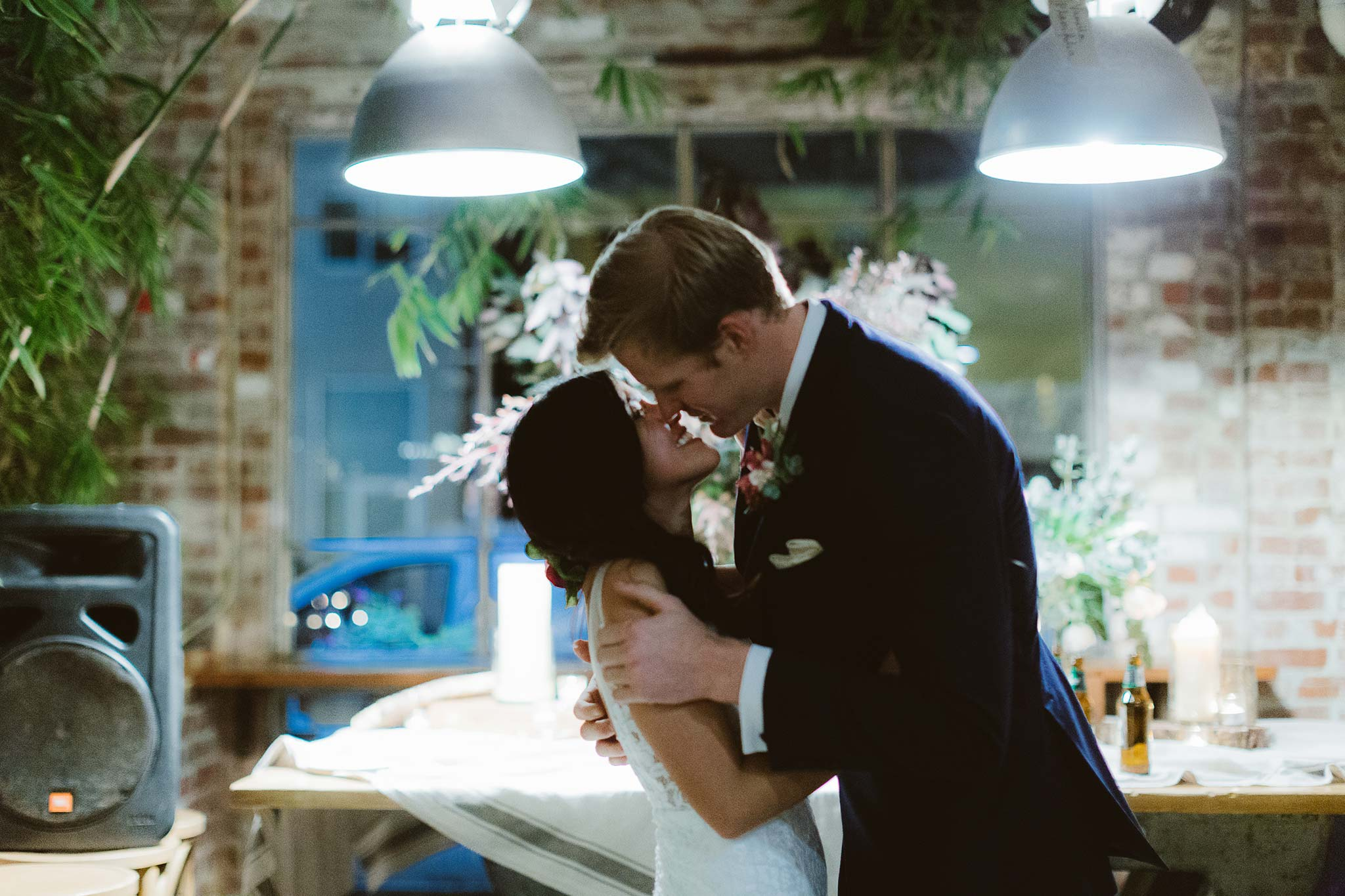 Melbourne-North-Carlton-East-Elevation-Surprise-Winter-warehouse-Wedding-photographer-kiss
