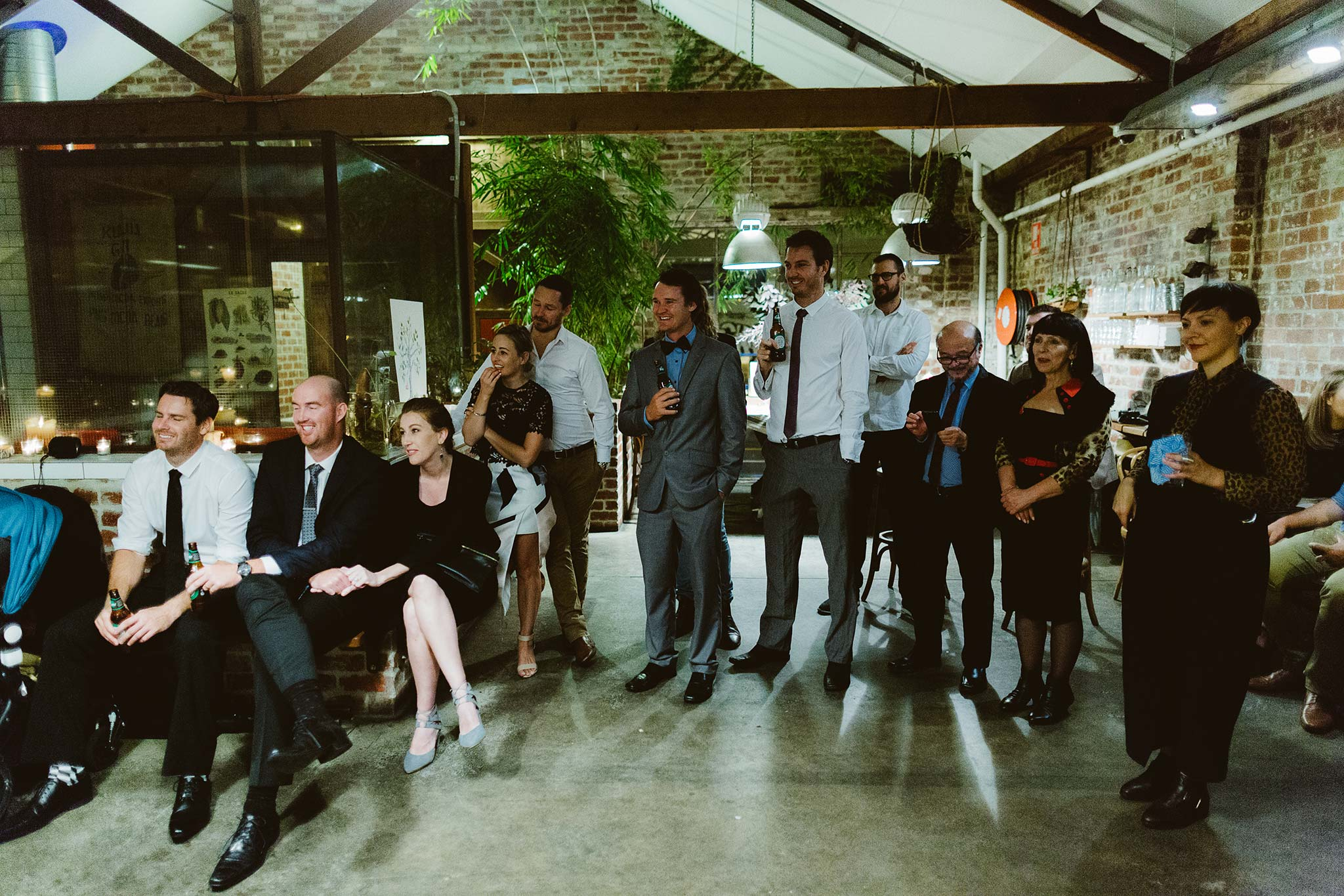 Melbourne-North-Carlton-East-Elevation-Surprise-Winter-warehouse-Wedding-photographer-guests
